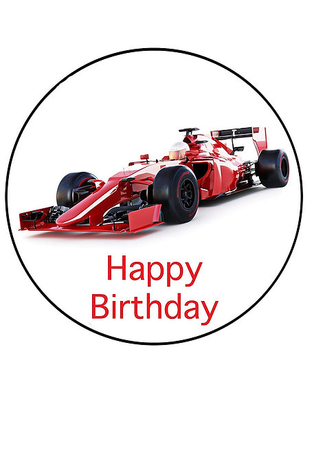 Racing Car Happy Birthday 7.5 Inch Circle Decor Icing Sheet