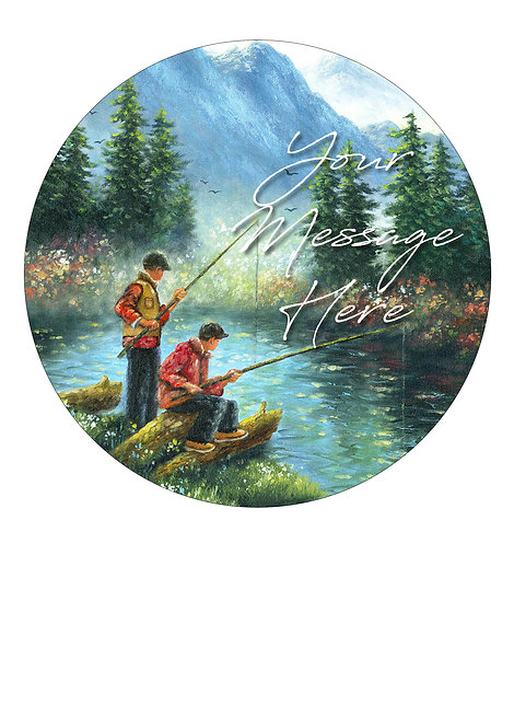 Fishing Theme PERSONALISED MESSAGE 7.5 Inch Circle Decor Icing Topper