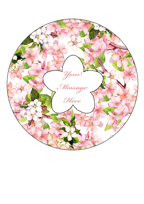 Pink Cherry Blossom Design PERSONALISED MESSAGE 7.5 Inch Circle Decor Icing