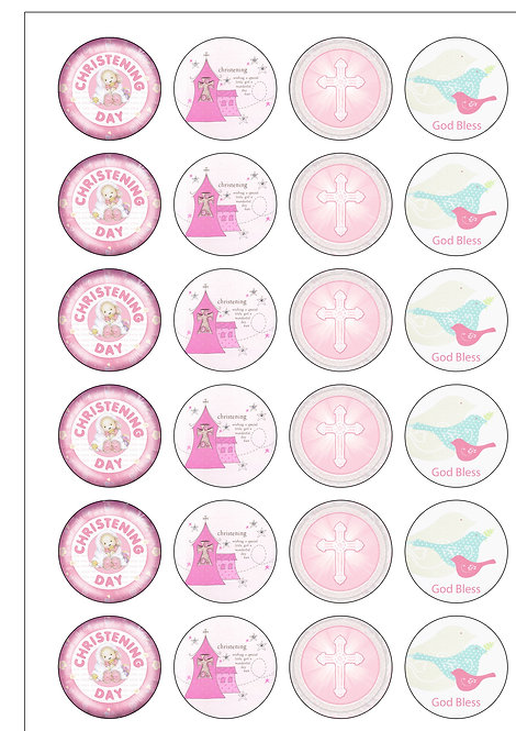 24 Baby GIRL Christening Pre-Cut Thin Edible Wafer Paper