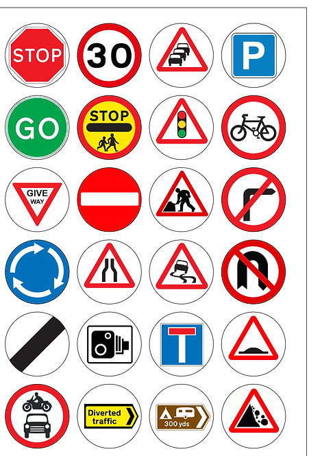 24 Precut Edible Wafer Paper Road Traffic Signs Cake Toppers