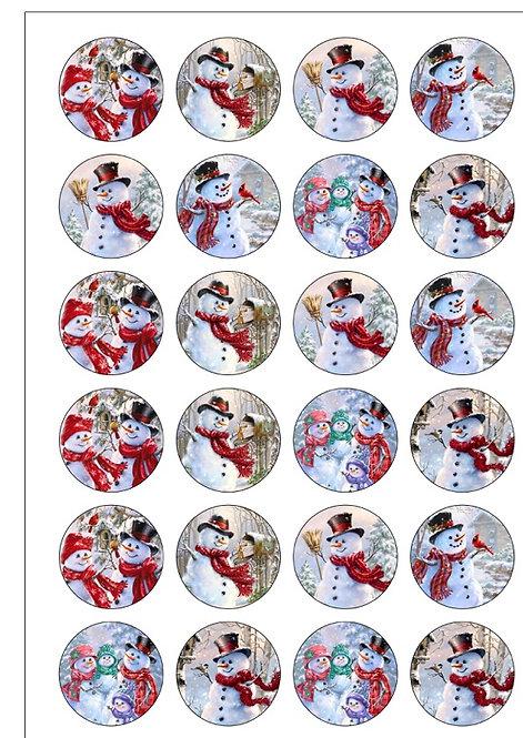 24 Precut Edible Wafer Paper Vintage Christmas Snowman Cake Toppers