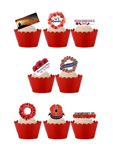 Stand Up Remembrance Day Poppy Edible Wafer Paper Cake Toppers