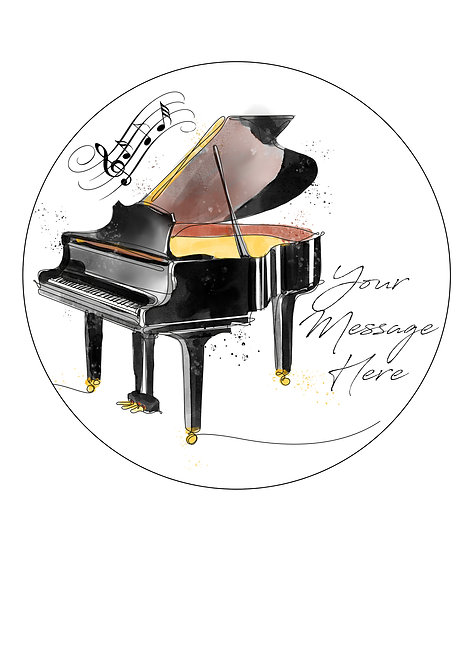 Grand Piano PERSONALISED MESSAGE 7.5 Inch Circle Decoration Topper