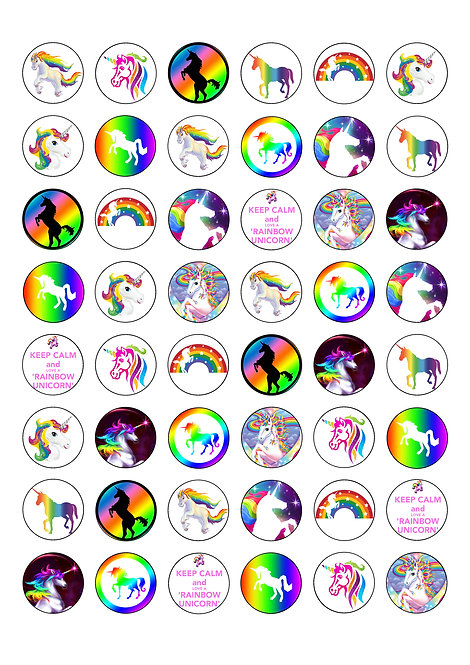 48 Rainbow Unicorn 2.5cm Edible Wafer Toppers