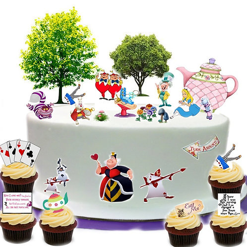 Alice In Wonderland Mad Hatters Tea Party Scene Edible Wafer Paper Cake Toppers