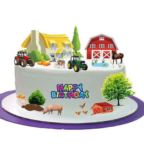 Farmyard Farm Animal Happy Birthday Stand Up Scene Made From Edible Wafer Paper