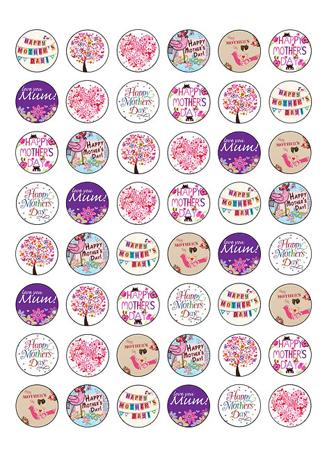 48 Happy Mother's Day 2.5cm Edible Wafer Toppers