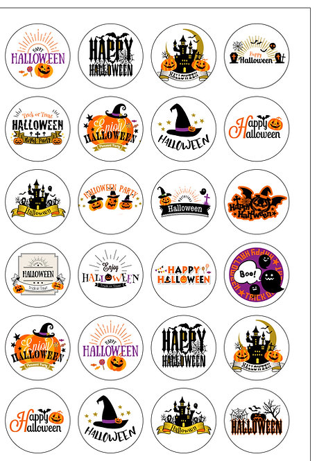 24 Precut Mixed Halloween Thin Edible Wafer Paper Cake Toppers