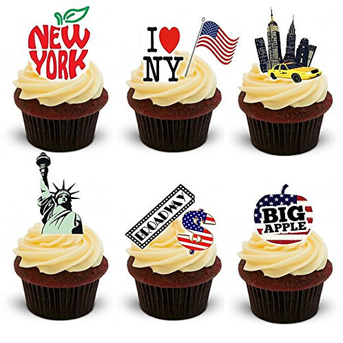 30 Stand Up Edible Wafer Paper New York Toppers