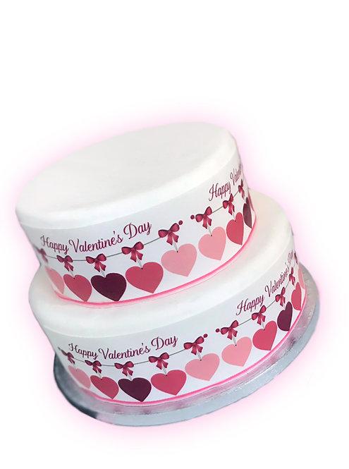Happy Valentine Pink Heart Borders Decor Icing Sheet