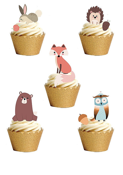 33 Stand Up Edible Wafer Paper Cute Woodland Animals Toppers