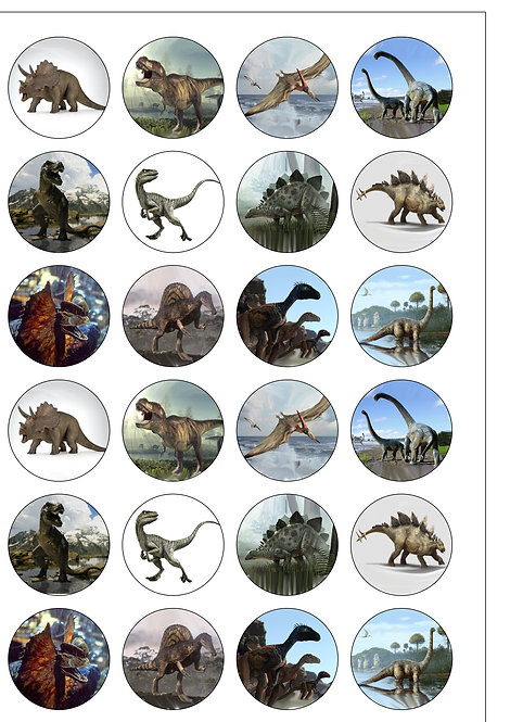 24 Dinosaurs Pre-Cut Thin Edible Wafer Paper