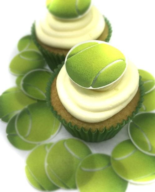 24 Tennis Balls Sport Pre-Cut Thin Edible Wafer Paper