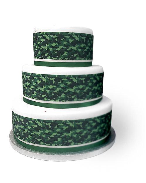 Camouflage Border Decor Icing Sheet Cake Decoration