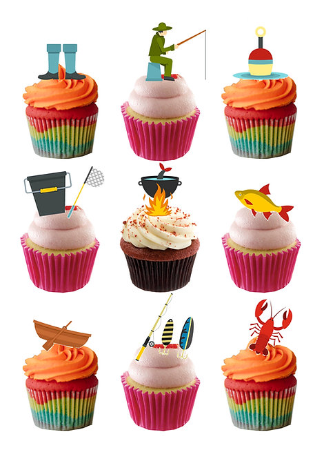 24 Fishing Sport Stand Up Edible Wafer Paper Cake Toppers