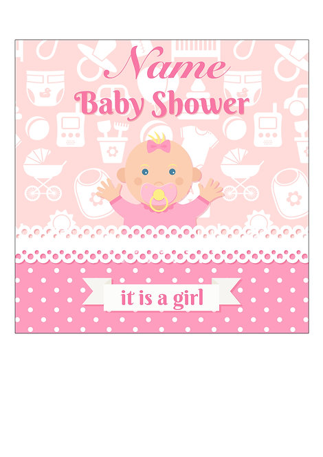 Baby Girl Shower PERSONALISED MESSAGE 7.5 Inch SQUARE Decor Icing Topper
