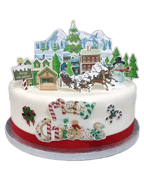 Christmas Fairytale Village Scene Edible Wafer Paper Cake Topper