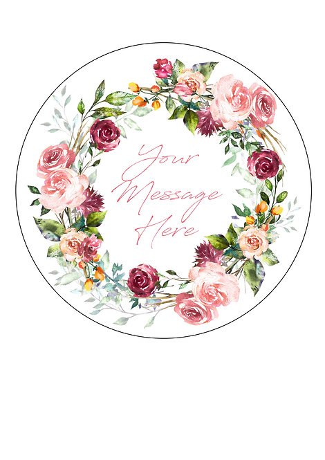 Vintage Rose PERSONALISED MESSAGE 7.5 Inch Circle Decoration Topper