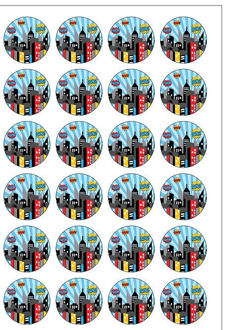 24 Superhero Cityscape Pre-Cut Thin Edible Wafer Paper