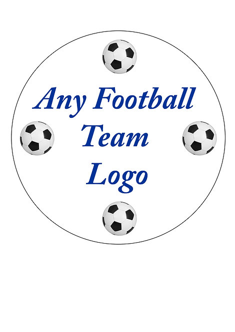 Any Football Team Logo PERSONALISED MESSAGE 7.5 Inch Circle Decor Icing Sheet