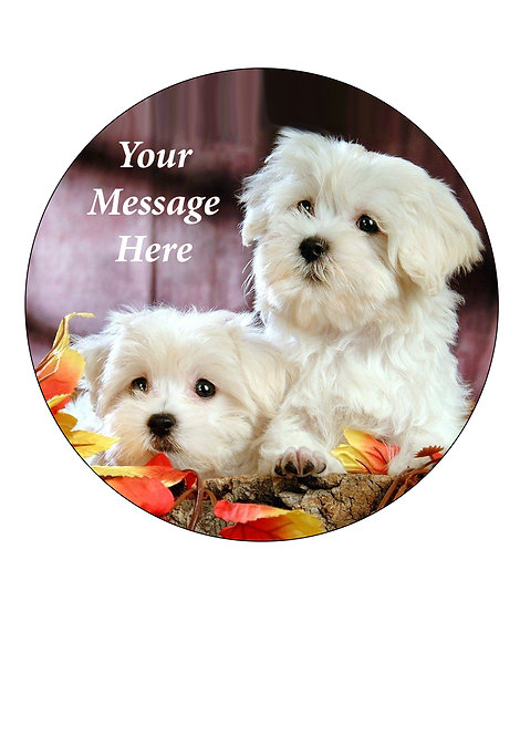Cute Puppy themed PERSONALISED MESSAGE 7.5 Inch Circle Decor Icing Sheet