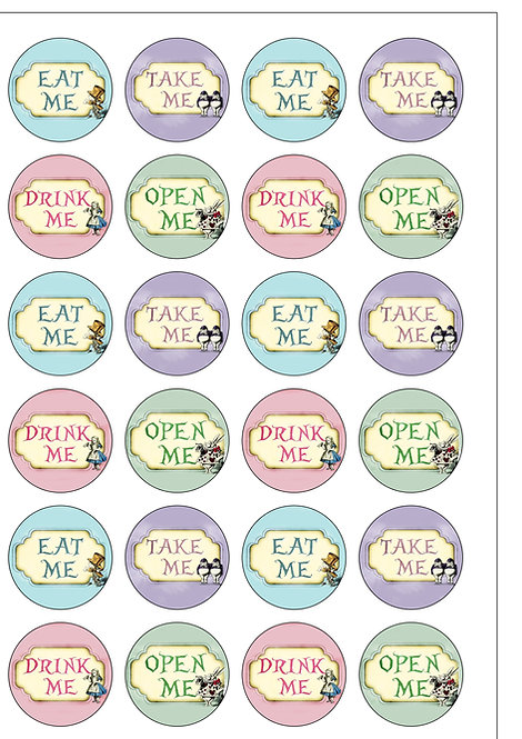 24 Precut Alice In Wonderland Eat Me Thin Edible Wafer Paper Cake Toppers