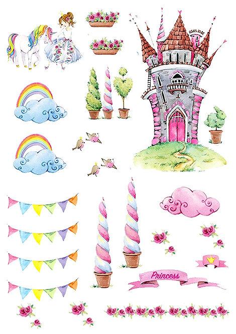 Fairytale Princess Scene Edible Wafer Paper Cake Topper