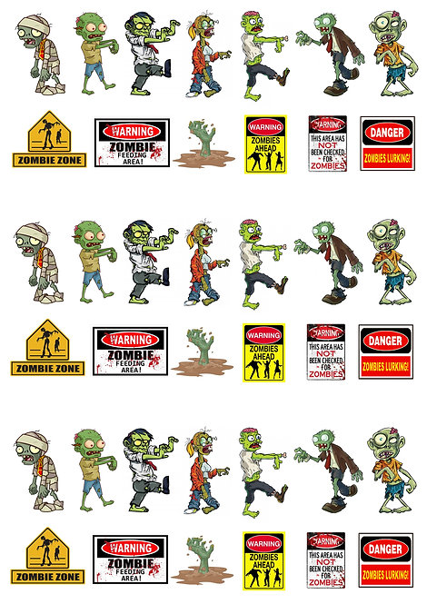 39 Stand Up Edible Wafer Paper Halloween Zombies Toppers