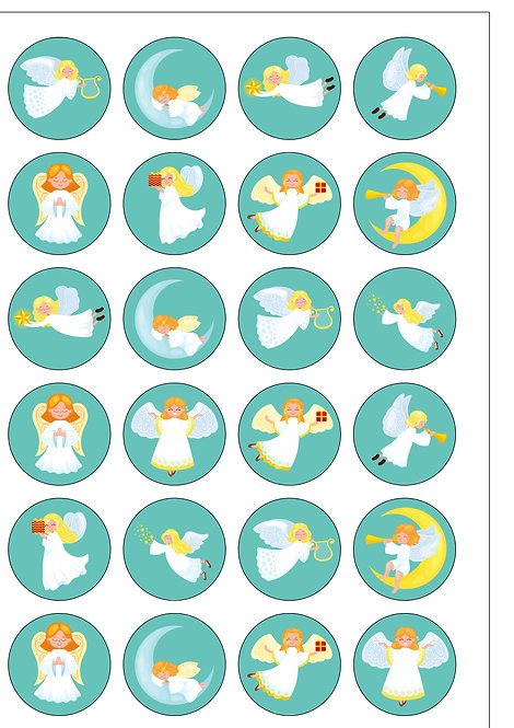 24 Precut Edible Wafer Paper Cute Christmas Angels Cake Toppers