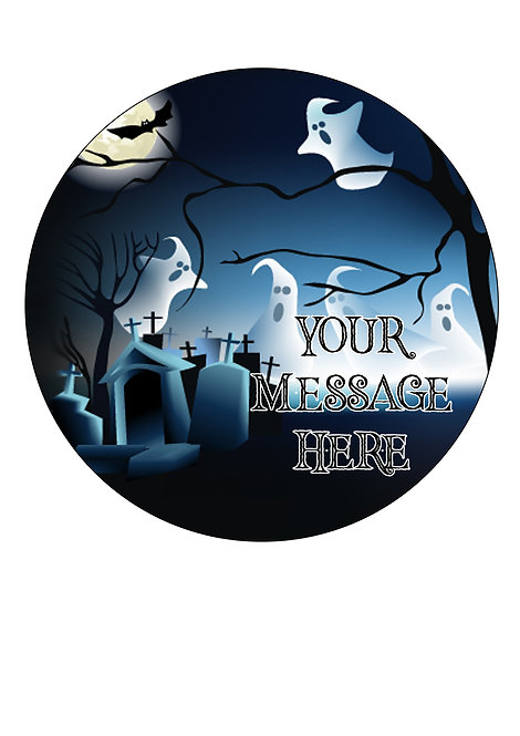 Spooky Halloween Ghost PERSONALISED MESSAGE 7.5 Inch Circle Decor Icing
