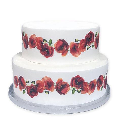 Remembrance Poppy Flower Borders Decor Icing Sheet Cake Decoration
