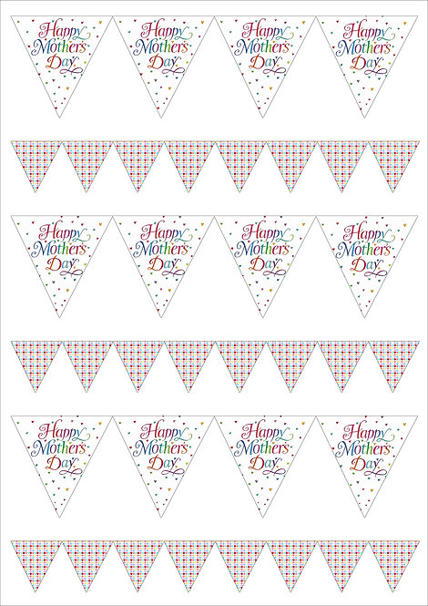 1 x A4 Happy Mother's Day Heart Bunting 2 Sizes Decor Icing Sheet
