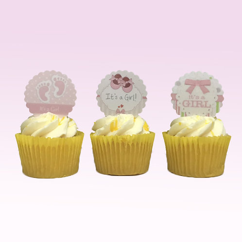 15 Pre-Cut Scalloped Edge Baby Girl Shower Edible Thick Wafer Paper