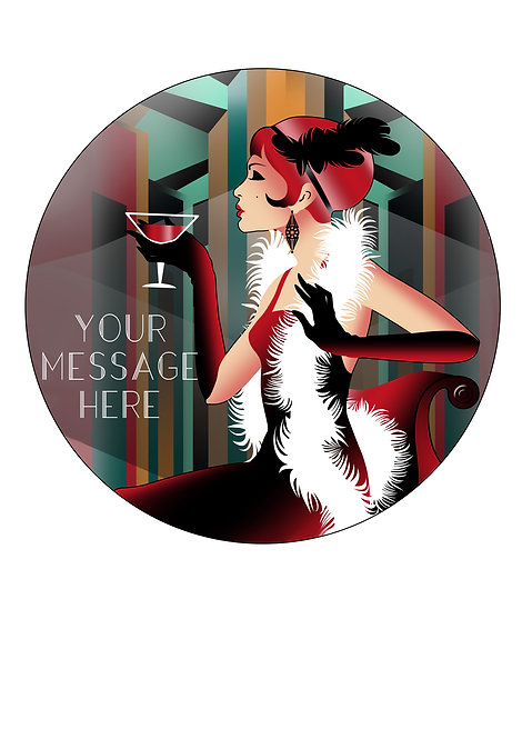 Art Deco Party Girl PERSONALISED MESSAGE 7.5 Inch Circle Decor Icing Topper