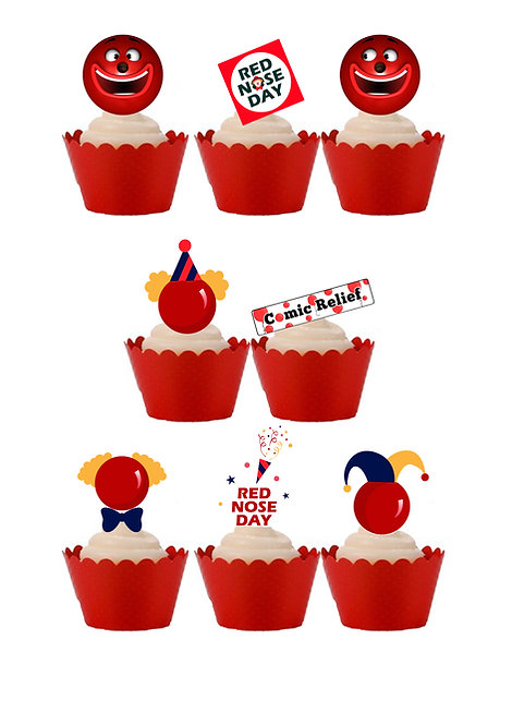 24 Stand Up Edible Wafer Paper Red Nose Day Comic Relief Charity Cake Toppers