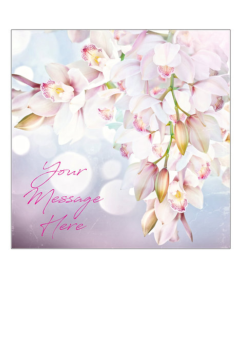 Orchid Flower PERSONALISED MESSAGE 7.5 Inch SQUARE Decor Icing Sheet Topper