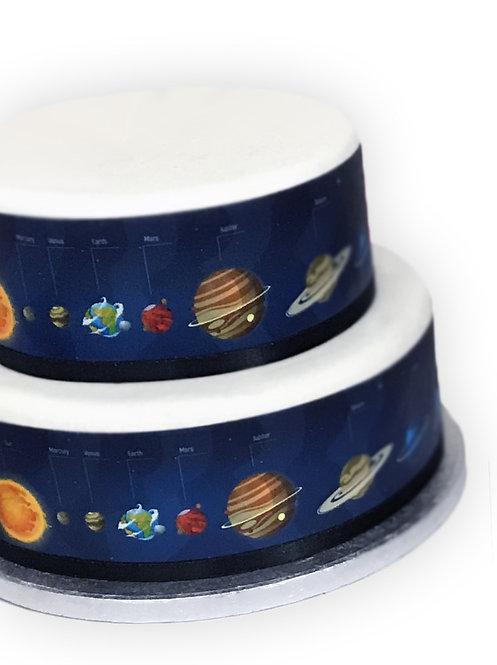 9 Named Planets Solar System Border Edible Decor Icing Sheet Cake Decoration
