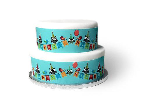 Cute Neutral Happy Birthday Owls Borders Decor Icing Sheet