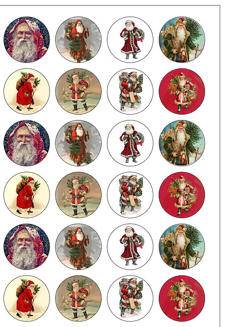 24 Vintage Victorian Father Christmas Santa Pre-Cut Thin Edible Wafer Paper