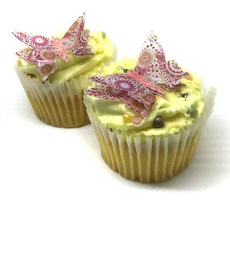 12 Pre-Cut 3D Pink Coral Swirl Glitter Body Butterflies Thin Edible Wafer Paper
