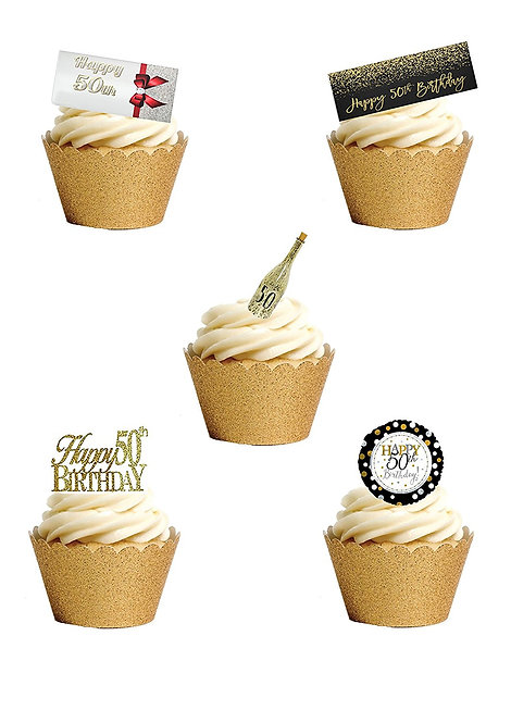 24 Stand Up Edible Wafer Paper FIFTIETH 50th Birthday Toppers