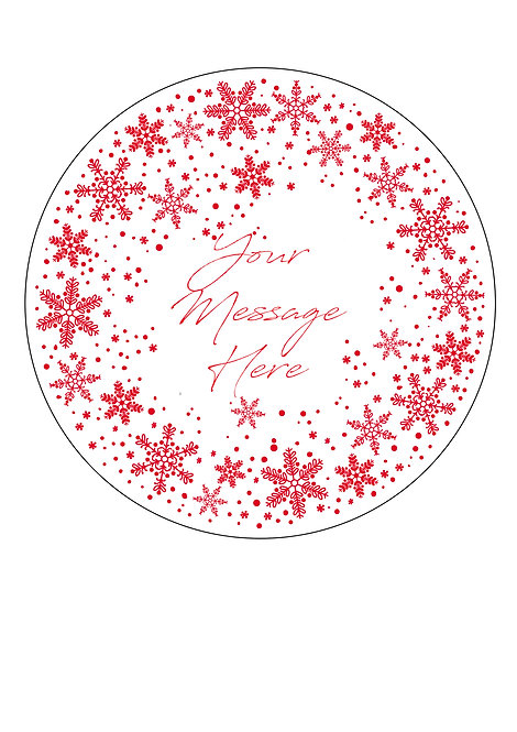 Red Snowflake Frozen PERSONALISED MESSAGE 7.5 Inch Circle Decor Icing Sheet