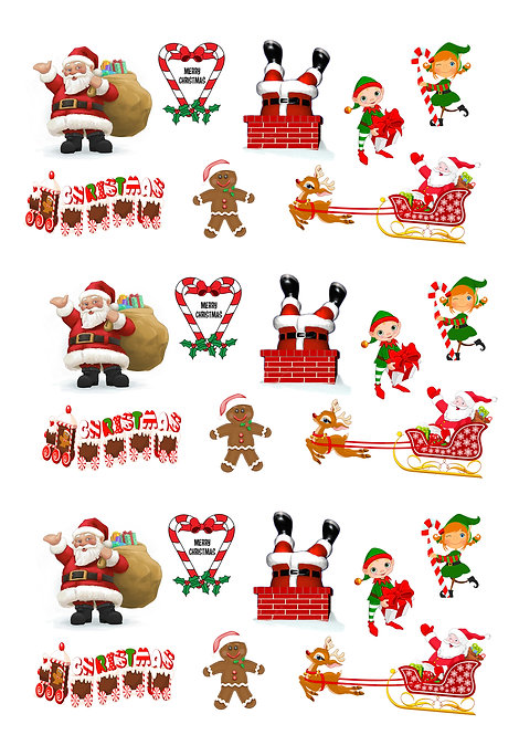 24 Stand Up Edible Wafer Paper Santa and Elf Toppers