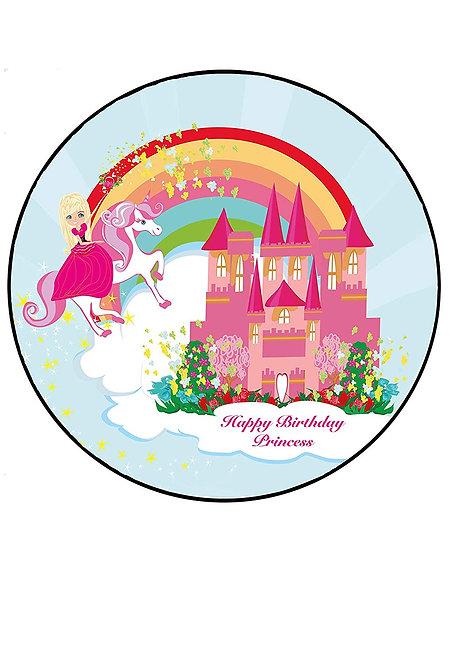 Princess Castle Fairytale Happy Birthday 7.5 Inch Circle Decor Icing Sheet