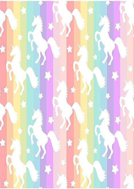 1 x A4 Unicorn Rainbow Wallpaper Decor Icing Sheet