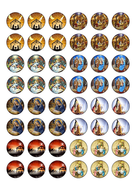 48 Religious Christmas 2.5cm Edible Wafer Toppers