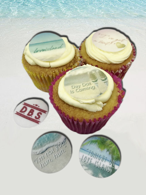 24 Pre-Cut Love Island themed Cake Toppers
