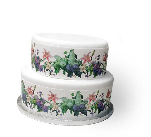 Hydrangea & Lily Flower Cake Border Edible Decor Icing Sheet