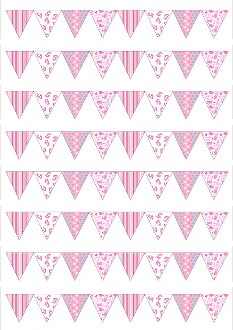 1 x A4 64 Baby Girl Shower SMALL Bunting Decor Icing Sheet